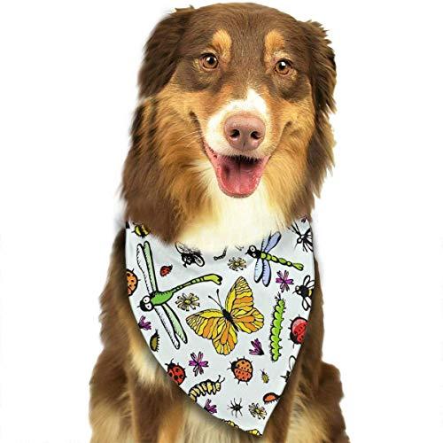iuitt7rtree Hunde-Halstuch, mit Insektenmuster, Weiß