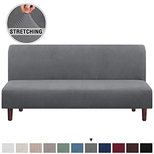 Stretch Armless Futon Cover Futon Slipcover Full Queen Size Futon Couch Cover Futon Sofa Cover Futon Bed Cover Furniture Protector with Elastic Bottom, Checked Pattern Jacquard (Futon, Grey)