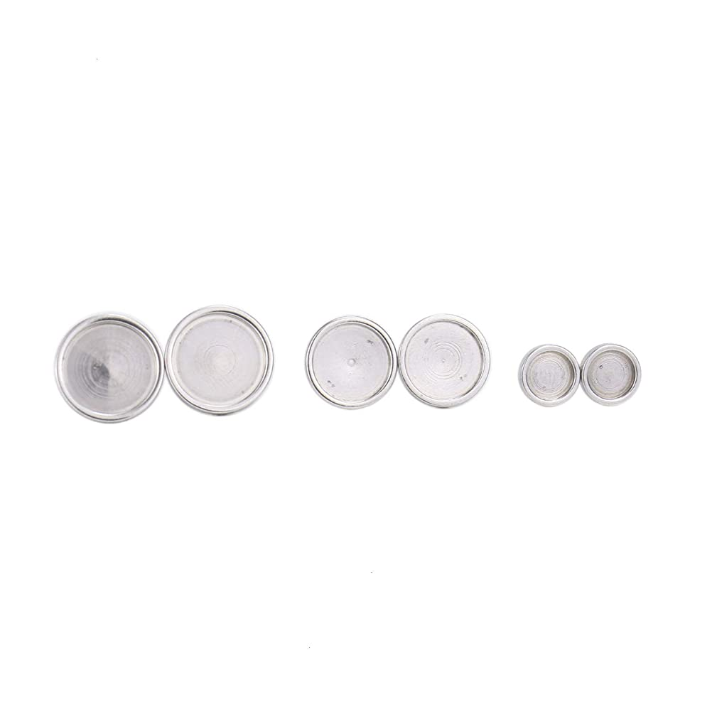 Monrocco 40PCS 4 Size Silver Stainless Steel Stud Earrings Blank Base Cabochon Settings Tray for DIY Jewelry Making