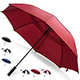 62 Inch Golf Umbrella (Red, 1-Pack) UV Umbrella Protection Sun Big Umbrella Waterproof Canopy Umbrella for Women Umbrellas for Kids Oversized Umbrella