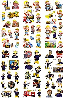 3sheets/Set Fireman Sam Engineer Bob Stickers for Kids Home Wall Decor On Laptop Cute Cartoon Mini 3D Foam Sticker Fridge Doodle