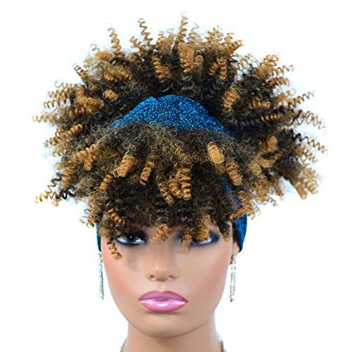 peluca,Tocados de peluca turbante, peluca de dama africana con tocado de rollo pequeo turbante