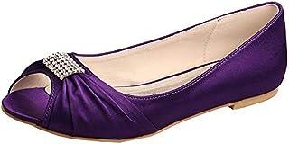 7557eff327 SERAPH MW1361 Mujer satén pedrería bailarinas plana boda nupcial zapatos de  fiesta