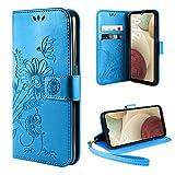 ivencase Cover Compatibile con Samsung Galaxy A12 / M12, Book Cover Custodia Flip Caso in PU Pelle Portafoglio Magnetica Porta Carta Kickstand Cover - Blu