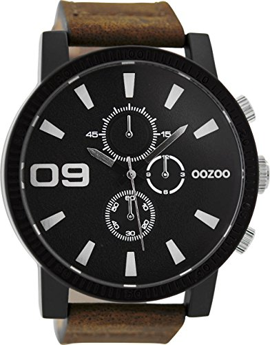 Oozoo Herrenuhr mit Lederband 50 MM Black/Schwarz/Dunkelbraun C9033