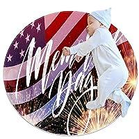 ソフトラウンドエリアラグ 80x80cm/31.5x31.5IN 滑り止めフロアサークルマット吸収性メモリースポンジスタンディングマット,幸せな記念日レトロなアメリカのアメリカ国旗