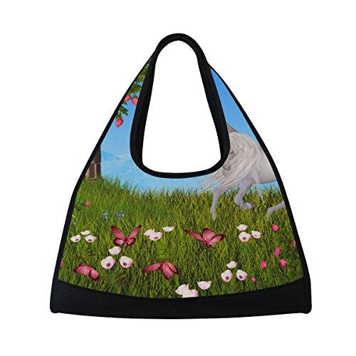 TIZORAX - Borsone da viaggio con unicorni, motivo floreale e farfalle, borsa da palestra