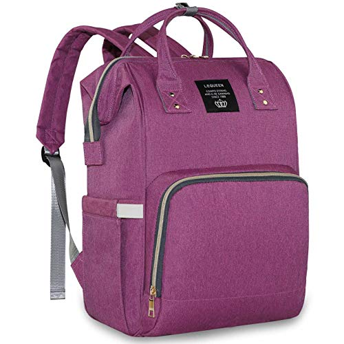 Baby Diaper Bag Large Capacity Travelling Backpack Baby Care Nappy Bag with Insulation Pockets for Mom Dad (Purple)