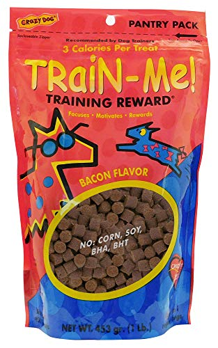 Crazy Dog Train-Me! Training Reward Dog Treats 16 Oz., Bacon Regular