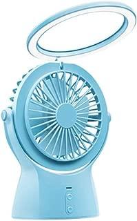 SHANGRUIYUAN-Mini Fan LED Night Light USB Multifunction Fan Small Desktop Mini Fan Summer Fan Portable 3 Speed Fan (Color : Blue)