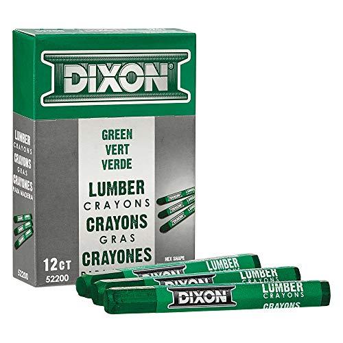 DIXON Industrial Lumber Marking Crayons, 4.5' x 1/2' Hex, Green, 12-Pack (52200)
