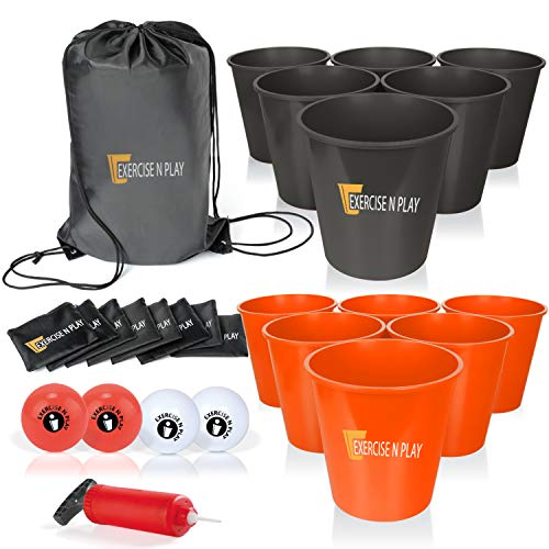 EP EXERCISE N PLAY Yard Pong Game Set with 12 Buckets (Black/Orange)