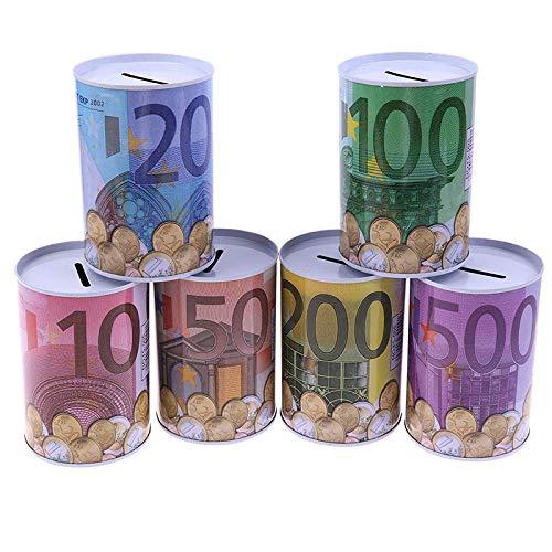 LIUKLAI 1 Unidad, Caja de Dinero de Ahorro de Banco de Cilindro de Metal de dólar Euro Creativo, decoración del hogar para depósito de Monedas, Cajas de Almacenamiento, decoración del hogar