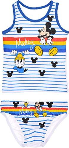 Disney Micky Maus Unterhemd und Unterhosen Set Mickey Blau 116/128 (6-8 Jahre)