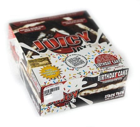 Juicy Jay's® Birthday Cake Flavored Rolling Papers Stack Pack King Size Supreme 24 packs with 40 rolling papers in each pack in Retail Box