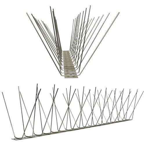 Pestsystems Vogelabwehrsystem, 1 Meter Taubenspikes 4-reihig auf V2A-Standard - hochwertige Lösung für Vogelabwehr Taubenabwehr Edelstahl Spikes