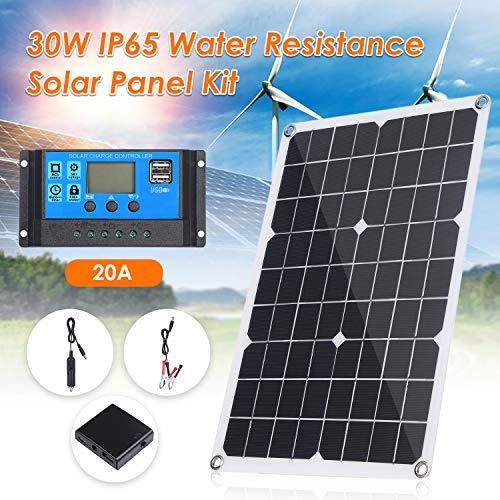 Lixada 30W DC 9V / 18V Dual Output Solarpanel mit 2 USB-Anschlüssen und IP65-Wasserdichtigkeitsregler für 12V / 24V Solarladeregler PWM Intelligenter Regler
