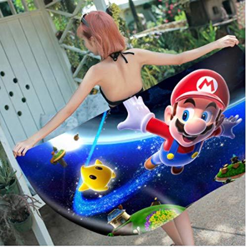 chinawh Toalla de Playa Personalizada de Super Mario, Alfombrillas de Microfibra para Picnic, Personaje de Anime, Alfombrillas de Yogo para niñas y Mujeres, 70x140cm