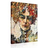 油絵プリント壁アート-寝室の浴室のリビングルームの家の装飾のための現代のヴィンテージの抽象的な女性の肖像画画像ポスターキャンバスプリントアートワーク| フレームレス,F01,70*105cm
