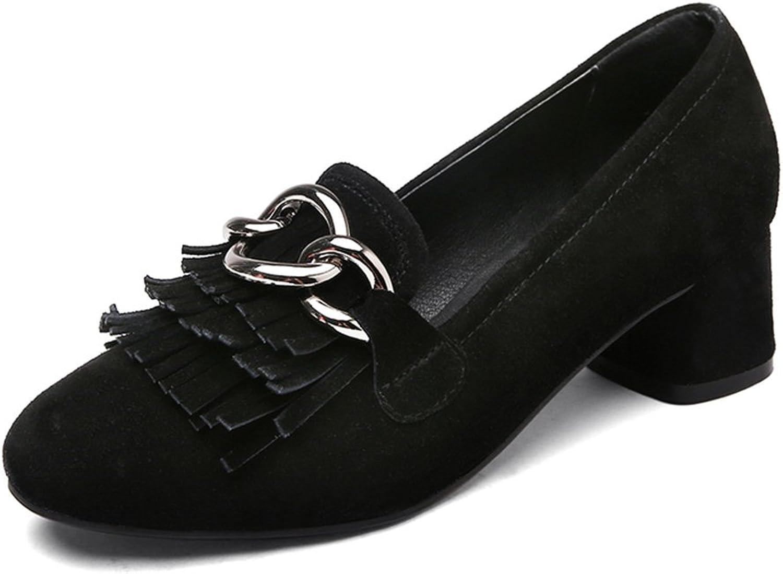 HWF Damenschuhe Single Schuhe Frau Sommer Quaste flachen Mund Damenschuhe Casual ein Pedal High-Heels Schuhe ( Farbe   Schwarz , gre   39 )