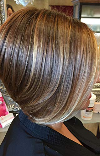 ※ Grand Promotion※ LaaVoo 12 Pouce Front Lace Mono Top Wig Bob Bresilienne Naturelles Partie Libre Couleur Du Piano Marron Foncé Blond Caramel Hand-Tied Perruque Cheveux Humans(#P4/27)
