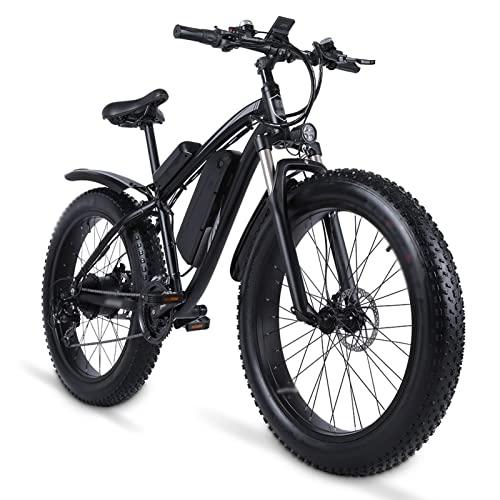 HMEI Bicicleta eléctrica 1000W Bicicleta eléctrica Fat Bike Bicicleta de Playa Bicicleta eléctrica 48v17ah batería de Litio ebike Bicicleta de montaña eléctrica (Color : Negro)