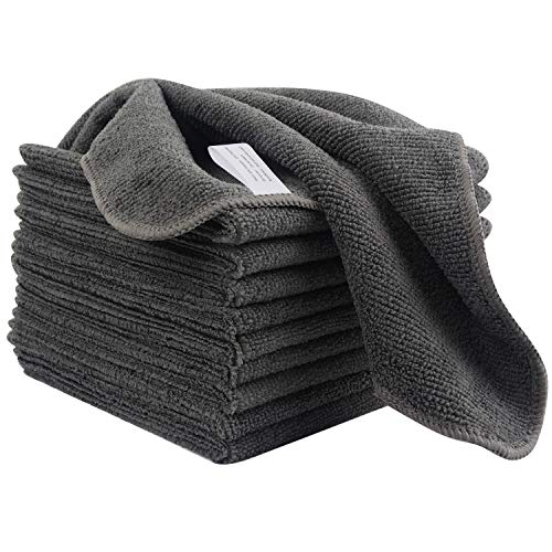 KinHwa Mikrofasertücher Haushalts handtücher Super saugfähig Geschirrtücher Mehrzweck 30cm x 30cm 10 Stück Grau