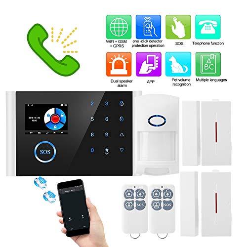 Sistema de alarma antirrobos WiFi + GSM + GPRS Seguridad Cámara IP HD inalámbrica para el hogar/oficina, soporte 9 idiomas, Alarma APLICACIÓN de red WIFI remota, configuración de nombre y número
