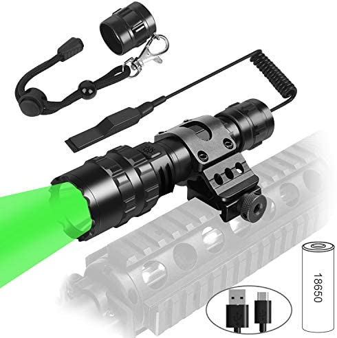 Weitars Green Tactical hunting LED flashlight with Universal Picatinny Rail Mount and Tactile product image