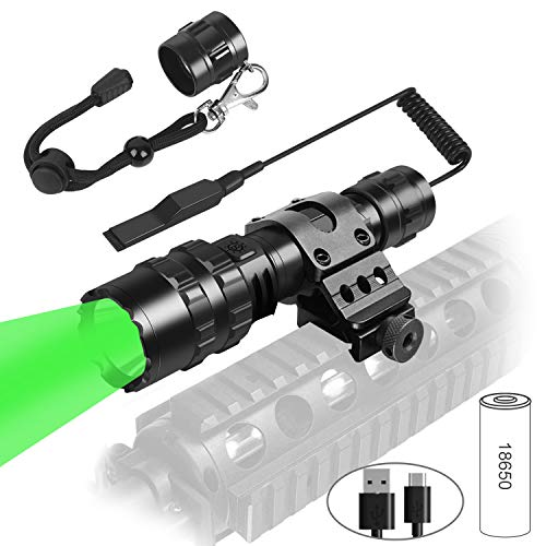 Weitars Green Tactical hunting LED flashlight with Universal Picatinny Rail Mount and Tactile Pressure Switch,1200 High Lumen Torch Flashlight USB Rechargeable,Waterproof 5 Modes Light