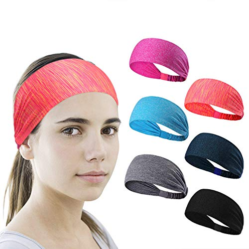 LEOTER 6 Pieces Sport Headband Yoga/Cycling/Running/Fitness Exercise Hairband Elastic Sweatband for Unisex