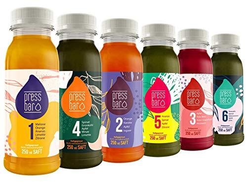 Pressbar Saftkur - 18 Säfte für 3 Tage Kur - 6 Säfte pro Tag - Hochwertige Obst & Gemüse Säfte - Achtung Kühlware, nach Erhalt sofort kühlen