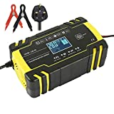 Car Battery Charger 12V/24V Portable Intelligent Automotive Battery Charger and Maintainer 3-Stage Pulse...