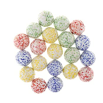 kowaku 20PCS 25mm Speckled Macarons Glass Beads Marbles Pebbles Swirl