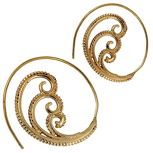 Chic-Net Spiralen Ohrringe Brass Punkte DREI Spiralen antik golden Tribal Piercing