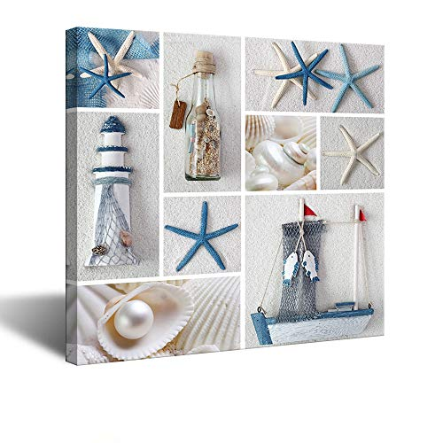 VividHome Beach Theme Canvas Wall Art Seashell Starfish Drift Bottle Lighthouse Boat on Beach Sand Canvas Prints for Living Room Stretched and Framed Ready to Hang Wall Decor 24x24 Inch