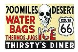 ZMKDLL Cartel de chapa de la ruta 66 para 700 millas de desierto en casa, 8 x 12 pulgadas