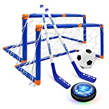 XIZECK Hover Hockey Set 2 in1 use USB Charging of LED Lights Air Floating Hockey& Soccer Indoor Outdoor Sport Games Toys for Kids Ages for, 3-12 Years Boy Girl The Best Choice for Gifts