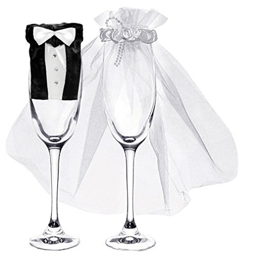 Champagner-Glas Hochzeit Sektglas Deko-Kleidung 2er Set Braut und Bräutigam Verkleidung. Von Haus der Herzen ®