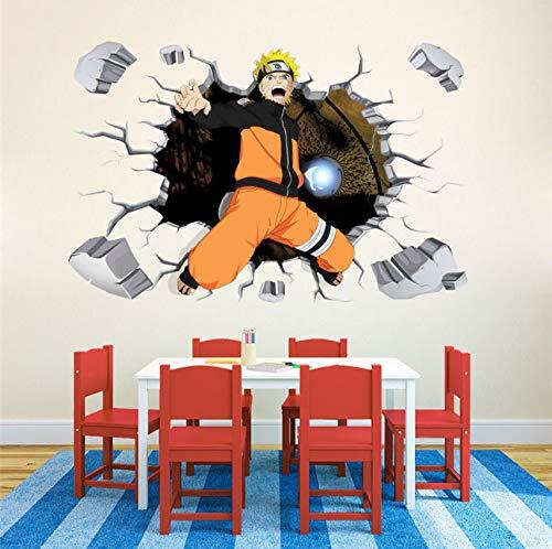 DIY Naruto avance 3D dormitorio pegatinas de pared decoración vinilo calcomanía cartel mural extraíble 60 * 90 cm