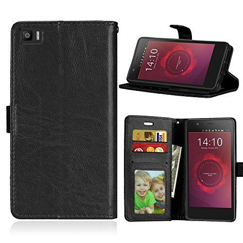 Funda BQ Aquaris M5 5.0inch,Bookstyle 3 Card Slot PU Cuero Cartera para TPU Silicone Case Cover-Negro