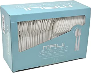 MAUI مجموعه کارد و چنگال پلاستیکی - 100 جعبه - 100 قاشق - چنگال و قاشق یکبار مصرف سنگین. قاشق برای سوپ و نوشیدنی، فوق العاده سنگین وزن. خوب برای احزاب و جمع آوری استفاده کنید. آسان برای باز کردن