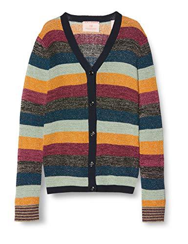 Scotch & Soda Mädchen Cardigan in Colourful Lurex Stripe Strickjacke, Mehrfarbig (Combo W 602), 152 (Herstellergröße: 12)