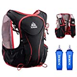 TRIWONDER Hydration Pack Backpack 5L Lightweight Deluxe Marathoner Running Race Hydration Vest (Black (L-XL) - with 2 Soft Water Bottles)