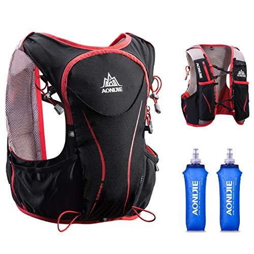 TRIWONDER Mochila de Hidratación Ligero 5L Superior Chaleco para Trail Running Ciclismo Marathoner Profesional Hombre Mujer (Negro (L-XL) - con 2 * 500ml Botellas Blandas)