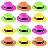 Super Z Outlet 12 Pack Neon Mafia Style Gangster Fedora Dress Hats Children's Birthday Props Supplies Favors