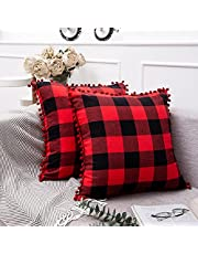 Buffalo Plaid Pillow Covers Set of 2 Checkered Cotton Decorative Pillow Covers with Pom-poms Christmas Thanksgiving Couch Cushion Case