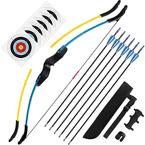 The7boX Set Arco e Frecce Ricurvi per Giovane Junior Tiro con l'arco Allenamento per Principianti Sport All'aria Aperta con 6 Frecce 6 Carte Bersaglio Protezione per il Braccio Faretra Freccia