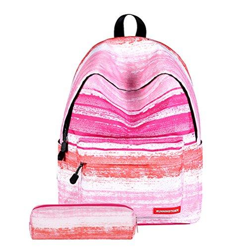 TINKSKY Fashion Women Girls Canvas Travel School Bag Backpack Rucksack with Pen Bag Stripe Design (Pink)