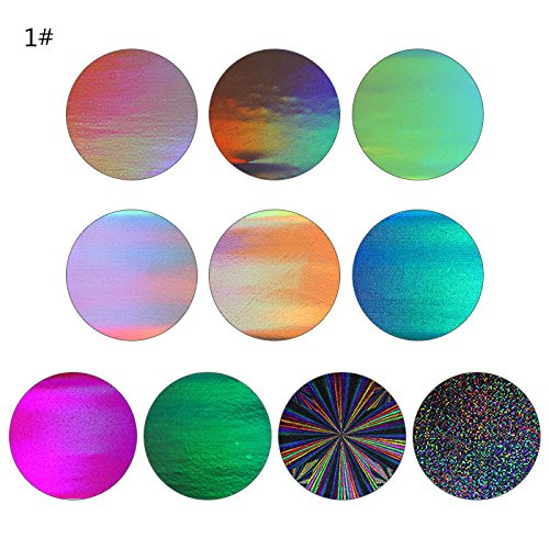 MEIYY Nagel Sticker 10 Rollen Gradient Starry Sky Nagelfolie Blauw Holografisch Papier Nagel Manicure Transfer Sticker 1 Doos
